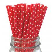 25 Adet Kırmızı Beyaz Puantiyeli Karton Pipet Parti Pipetleri