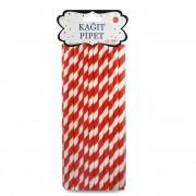 25 Adet Kırmızı Beyaz Şeritli Karton Pipet, Parti Pipetleri