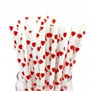 25 Adet Kırmızı Kalp Desenli Beyaz Karton Pipet, Doğum Günü Parti