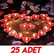 25 Adet Kırmızı Kalpli Mum, Evlilik Teklifi Küçük Tealight Mum