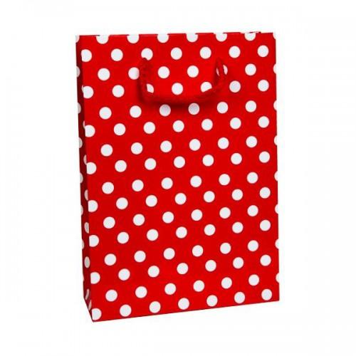 25 Adet Kırmızı Puantiyeli Hediyelik Küçük boy Çanta 18cm x 12cm