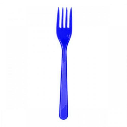 25 ADET Koyu Mavi Çatal 18 cm Kullan At Doğum Günü Plastik Parti
