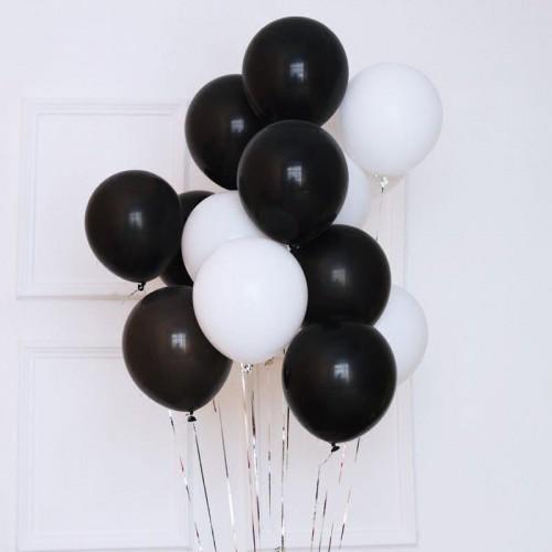 25 Adet Lateks Mat Beyaz Siyah Karışık Renk Balon