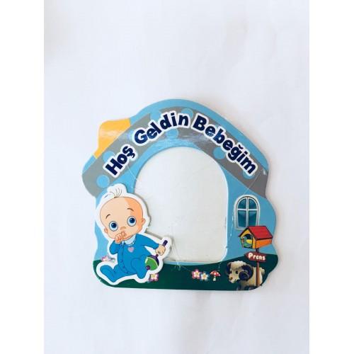 25 Adet Mavi Hoşgeldin Bebeğim Magnet Fotoğraf Çerçevesi Erkek