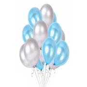 25 Adet Metalik (Açık Mavi-Gümüş Gri) Karışık Helyumla Uçan Balon