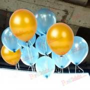 25 Adet Metalik Gold Altın Rengi-Açık Mavi Balon Helyumla Uçan