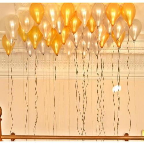 25 Adet Metalik (Gold Altın Sarısı-Beyaz) Balon Helyumla Uçan