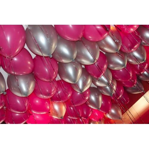 25 Adet Metalik Koyu Pembe,Fuşya-Gümüş Gri Helyumlu Uçan Balon