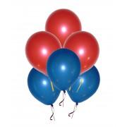 25 Adet Metalik (Lacivert-Kırmızı) Karışık Balon, Helyumla Uçan