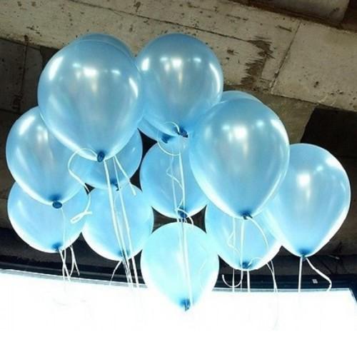 25 adet Metalik Sedefli Parlak Açık Mavi Balon (Helyumla Uçan)