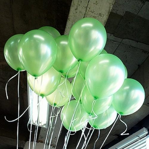 25 adet Metalik Sedefli Parlak Açık Yeşil Balon (Helyumla Uçan)