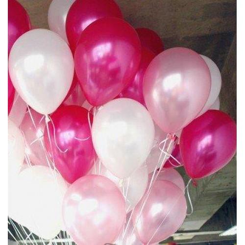 25 Adet Metalik Sedefli (Fuşya-Beyaz)  Karışık Balon Helyumla Uçan