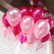 25 Adet Metalik Sedefli (Fuşya-Şeker Pembe) Karışık Balon Helyumla Uçan