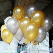 25 Adet Metalik (Gold Altın Sarısı-Gümüş Gri) Balon Helyumla Uçan