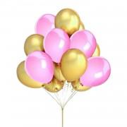 25 Adet Metalik Sedefli (Gold Altın Sarısı -Pembe) Karışık Balon Helyumla  Uçan