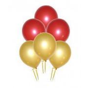 25 Adet Metalik Sedefli (Gold-Kırmızı) Karışık Balon Helyum Uçan