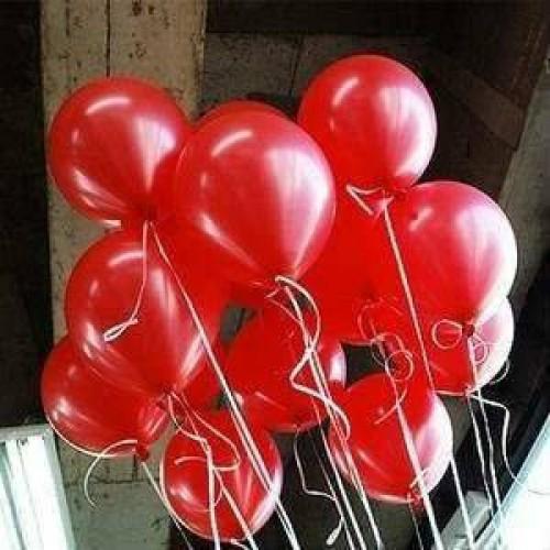 25 adet Metalik Sedefli Parlak Kırmızı Balon (Helyumla Uçan)