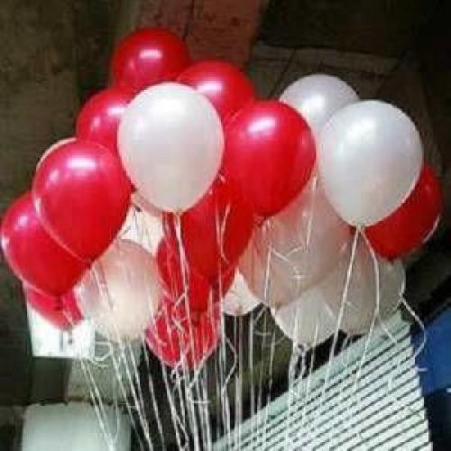 25 Adet Metalik Sedefli (Kırmızı-Beyaz) Karışık Balon Helyumla Uçan