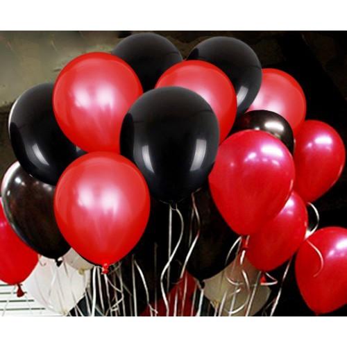 25 Adet Metalik Sedefli (Kırmızı-Siyah) Karışık Balon Helyumla Uçan