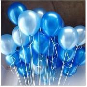 25 Adet Metalik Sedefli (Koyu Mavi-Açık Mavi) Karışık Balon Helyumla Uçan