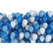 25 Adet Metalik Sedefli (Koyu Mavi-Beyaz) Karışık Balon Helyumla Uçan
