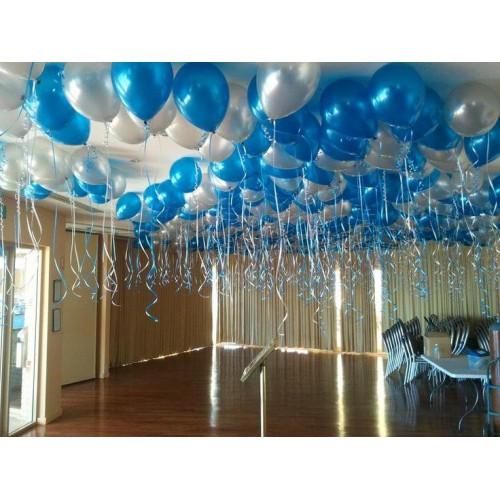 25 Adet Metalik Lacivert Koyu Mavi + Gümüş Gri Karışık Balon