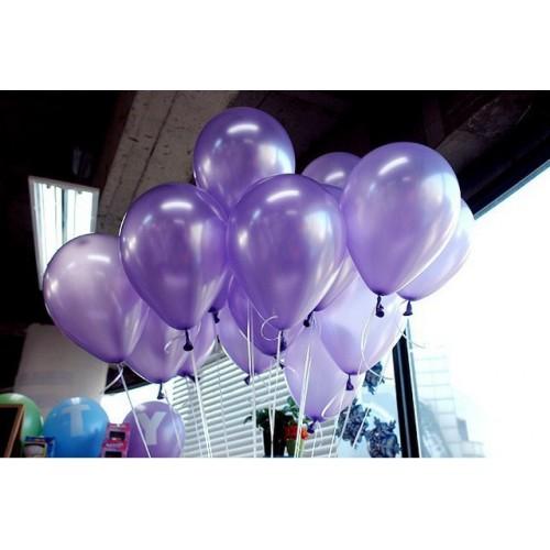 25 adet Metalik Sedefli Parlak Mor Balon (Helyumla Uçan)