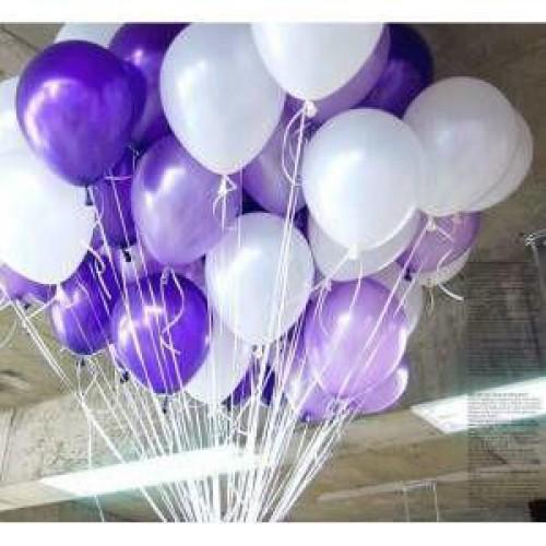 25 Adet Metalik Sedefli (Mor-Beyaz) Karışık Balon Helyumla Uçan