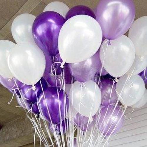 25 Adet Metalik Sedefli ( Mor-Beyaz) Karışık Balon Helyumla Uçan