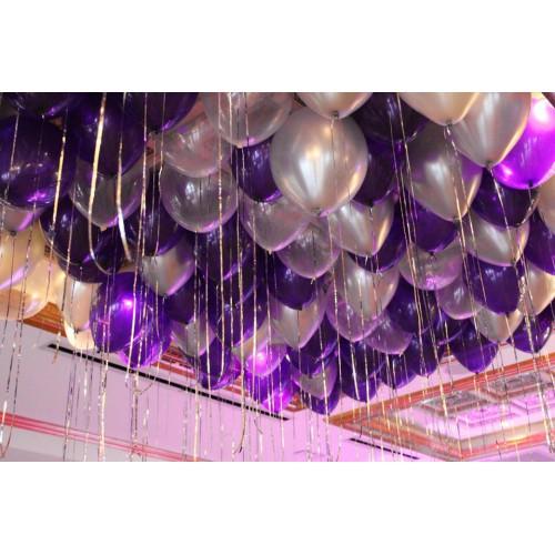 25 Adet Metalik Sedefli (Mor-Gri) Karışık Balon Helyumla Uçan
