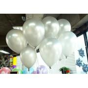 25 adet Metalik Sedefli Parlak Gümüş Gri Balon (Helyumla Uçan)