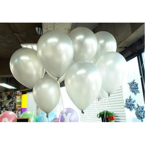 25 ADET Metalik Sedefli Parlak Gümüş Gri BALON 12inc Doğum Günü