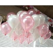 25 Adet Metalik Sedefli (Pembe-Beyaz) Karışık Balon Helyumla Uçan