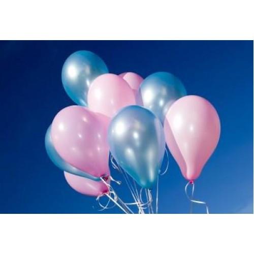 25 Adet Metalik Sedefli (Pembe-Mavi) Karışık Balon Helyumla Uçan