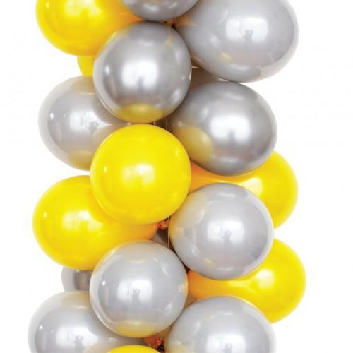 25 Adet Metalik (Civciv Sarı-Gümüş Gri)Karışık Balon Helyumla Uçan