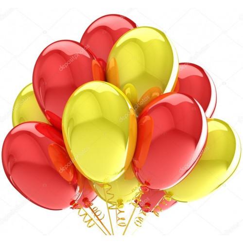 25 Adet Metalik Sedefli (Sarı-Kırmızı) Karışık Balon Helyumla Uçan