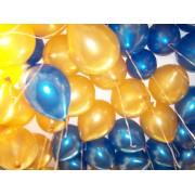 25 Adet Metalik Koyu Mavi-Altın Rengi Karışık Balon Helyumla Uçan