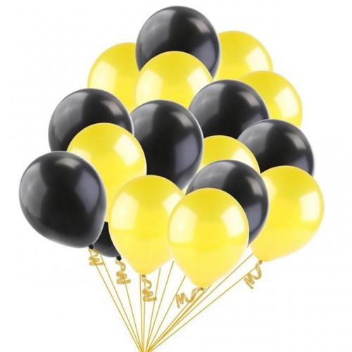 25 Adet Metalik (Civciv Sarısı-Siyah) Karışık Balon Helyumla Uçan