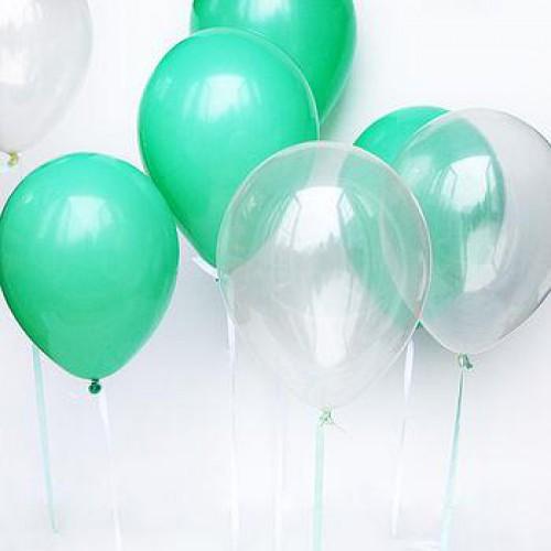 25 Adet  Sedefli Şeffaf-Mint Yeşili (Turkuaz) Karışık Balon Helyumla Uçan