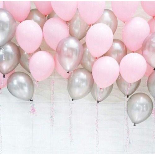 25 Ad Metalik Sedefli (Şeker Pembe-Gümüş Gri) Balon Helyumla Uçan