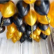 25 Adet Metalik Sedefli (Siyah - Altın Gold Karışık) Balon Helyumla Uçan