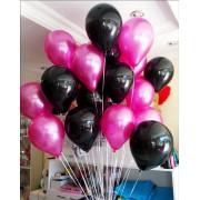 25 Adet Metalik Sedefli ( Siyah-Fuşya) Karışık Balon Helyumla Uçan