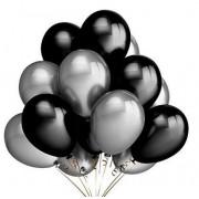 25 Adet Metalik Sedefli (Siyah-Gümüş Gri) Karışık Balon Helyumla Uçan