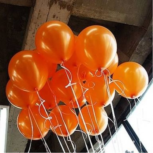 25 Adet Metalik Parlak Sedefli Turuncu Balon (Helyumla Uçan)