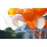 25 Adet Metalik Sedefli (Turuncu-Beyaz) Karışık Balon Helyumla Uçan