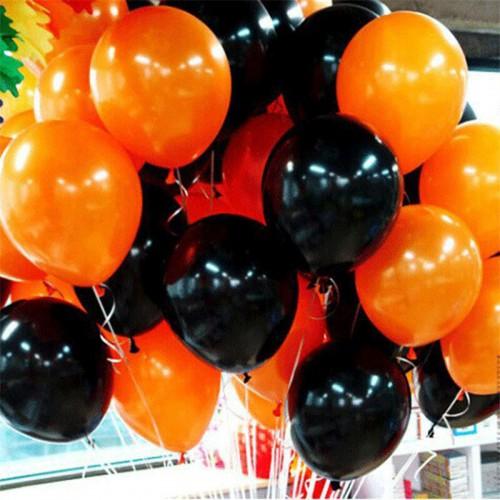 25 Adet Metalik Sedefli (Turuncu-Siyah) Karışık Balon Helyumla Uçan