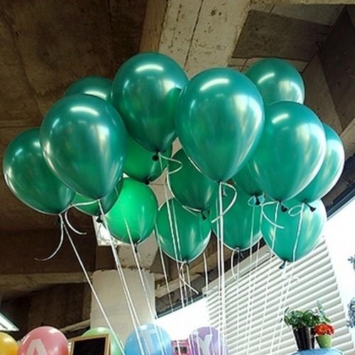 25 adet Metalik Sedefli Parlak Koyu Yeşil Balon (Helyumla Uçan)