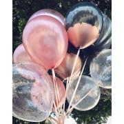 25 Adet Metalik Toz Pembe (Bakır)-Şeffaf Balon, Helyumla Uçan