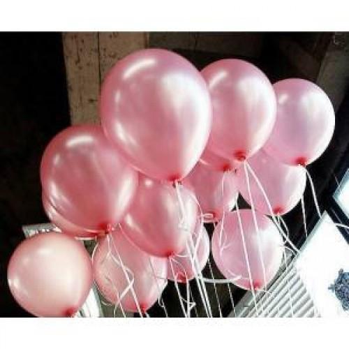 25 Adet Pembe Metalik Parlak Sedefli Karışık Renkli Balon