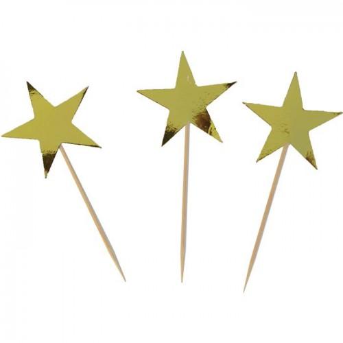 15 Adet Sarı Yıldız Sunum Kürdanı Parti Malzemesi